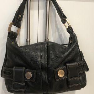 MICHAEL KORS black pebble leather shoulder bag